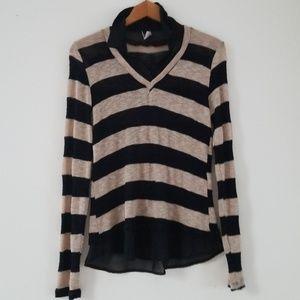 Windsor semi sheer knit longsleeve striped top